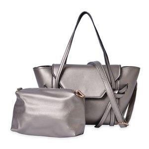 Handbags - Metallic Faux Leather Tote Bag & Cross Body Bag